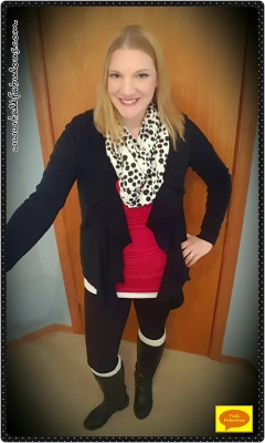 black sweater, black boots, leggings, red tee, polka dot scarf, winter outfit, casual style