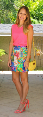 Neon top with floral skirt