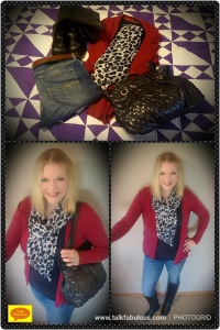 Animal print scarves boots cardigan winter style casual look