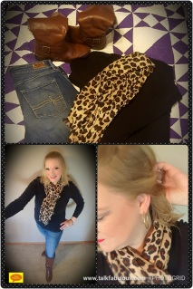 Black top brown boots red lipstick animal print scarf skinny jeans