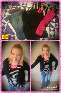 Black sweater stripes pink tank bootcut jeans ankle boots