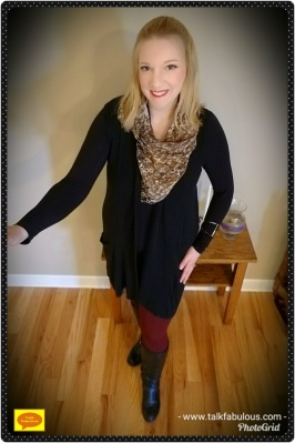 Maroon leggings animal print scarf black sweater boots winter fashion